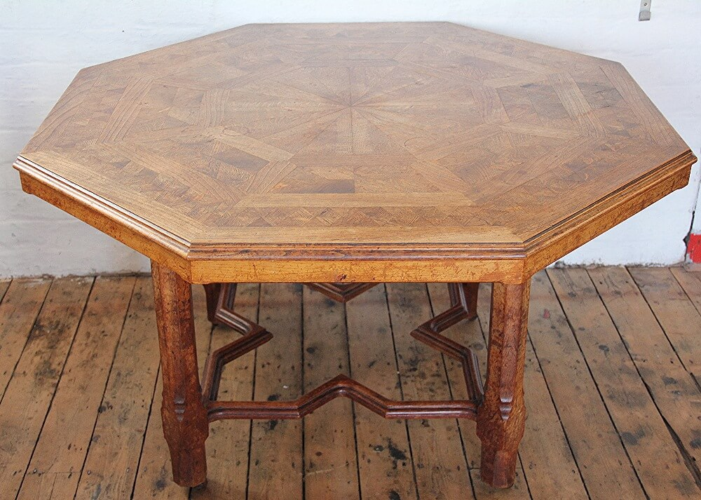 A Victorian Howard and Sons oak and elm parquetry library table £3400