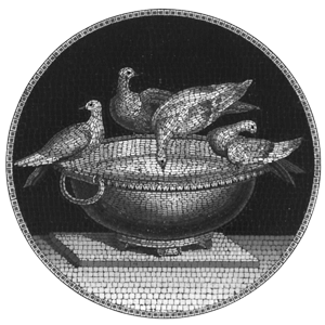 A version of Raffaeilli's micromosaic of The Capitoline Doves or Pliny's Dives.  This box is in the MET Museum although other copies are known.