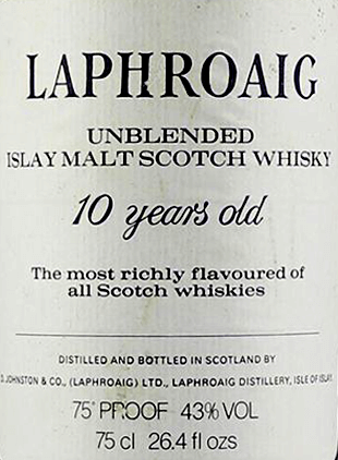 Bottles ofLaphroaig like this unblended 10 Year Old are very commercial and can make £1000's in some instances. Be on the look out for any bottles at 75cl or 26 2/3fl ozs as these are especially sought after.