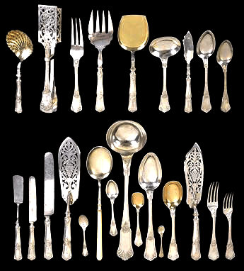 A very extensive place setting of silver cutlery - note how many different types of knife, fork and spoon there are.  Some of the items are serving implments and the inclusion of such pieces is a good selling point.