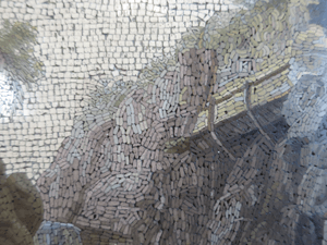 Another details showing the very fine tesserae that are used in micromosaics. Their linear application in the sky is a good indication of an early micromosaic.