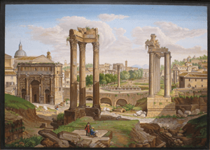 A typical view of the Forum in Rome - a very typical Neo-Classical scene. A plaque of this size and quality is worth over £100,000.