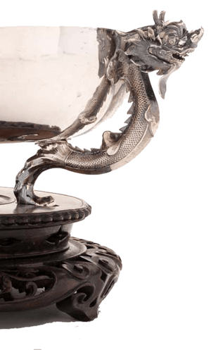 Detail of dragon handles on a chines export silver bowl