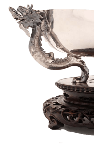 Detail of a chinese export silver bowl