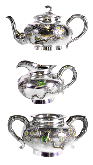 An enamelled chinese export silver tea service