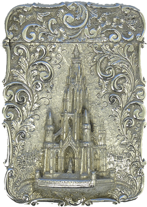 a castle top silver card case